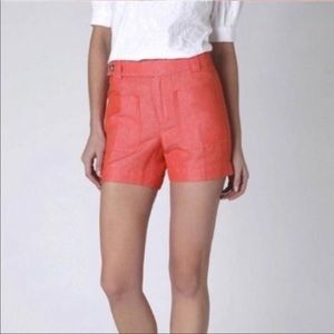 DAUGHTERS OF LIBERATION ORANGE LINEN SHORTS
